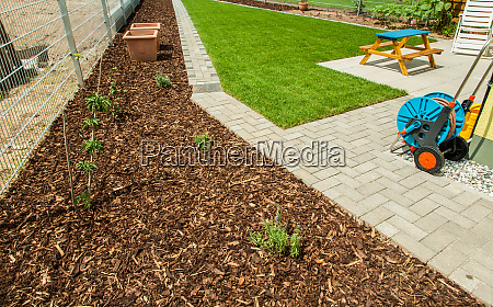 garden with fresh new lawn and