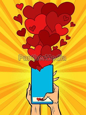 phone hearts social networks sympathy connections