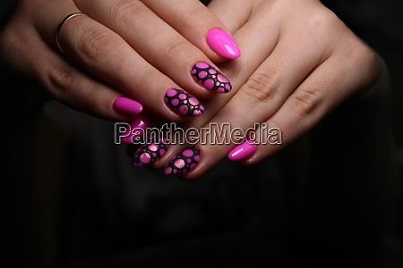 stylish design of manicure on long