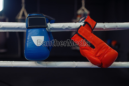 red and blue boxing gloves on