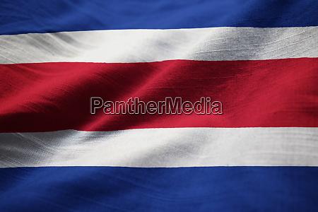 closeup of ruffled costa rica flag