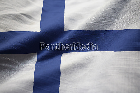 closeup of ruffled finland flag finland