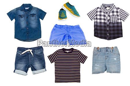 collage set of children clothes denim