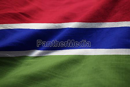 closeup of ruffled gambia flag gambia