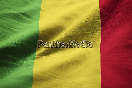 closeup of ruffled mali flag mali