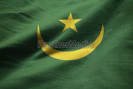 closeup of ruffled mauritania flag mauritania