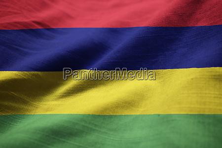closeup of ruffled mauritius flag mauritius