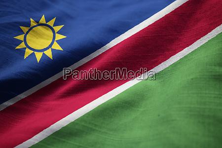 closeup of ruffled namibia flag namibia