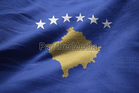 closeup of ruffled kosovo flag kosovo