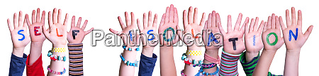 kids hands holding word self isolation