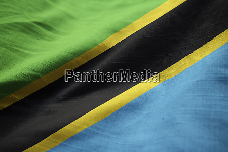 closeup of ruffled tanzania flag tanzania