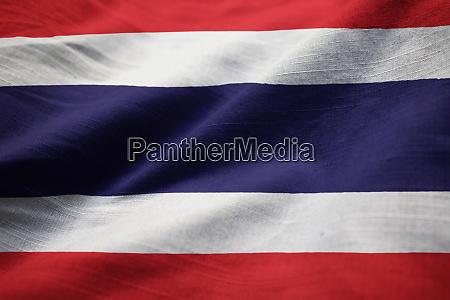 closeup of ruffled thailand flag thailand