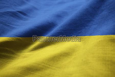 closeup of ruffled ukraine flag ukraine