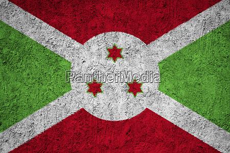 burundi flag painted on the cracked