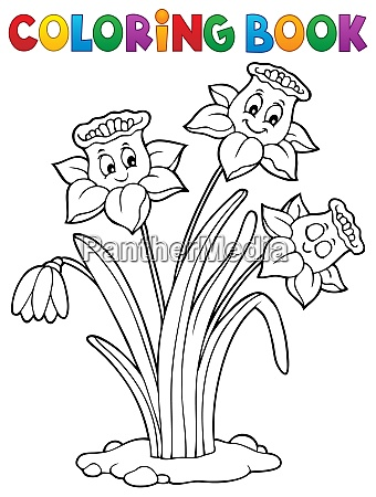 coloring book narcissus flower image 1