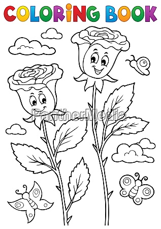 coloring book rose flower image 2