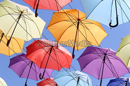colourful umbrellas urban street decoration