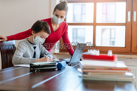 mother and child having e learning
