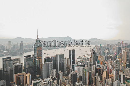 aerial view of hong kongs iconic