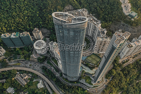 aerial view of apartment buildings on