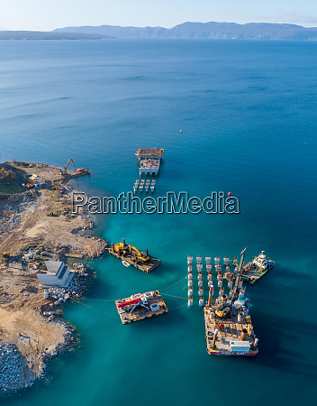 aerial view of the shore of
