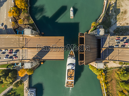 aerial view of elevated bridge over