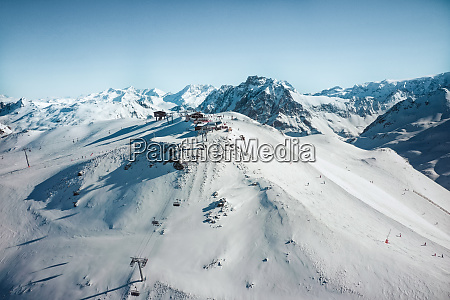 aerial view of ski area in
