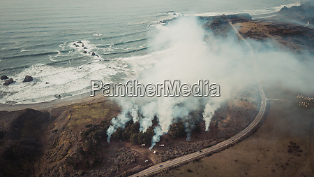 aerial view of forest fire being