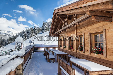mountain hut in winter south tyrol