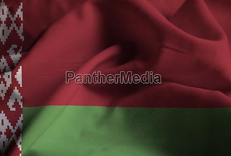 ruffled flag of belarus blowing in