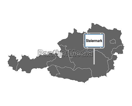 landkarte von OEsterreich mit ortsschild steiermark