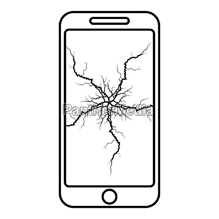 smartphone with crack on display broken