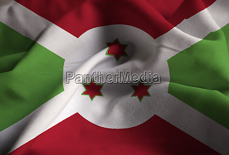 ruffled flag of burundi blowing in