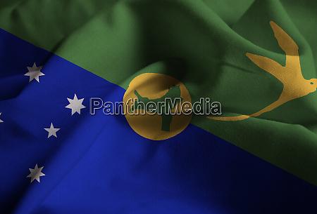 ruffled flag of christmas island blowing