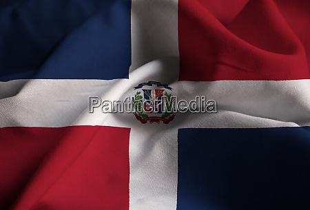 closeup of ruffled dominican republic flag