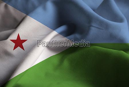 closeup of ruffled djibouti flag djibouti