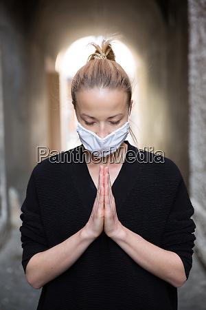 coronavirus outbreak young caucasian woman wearing