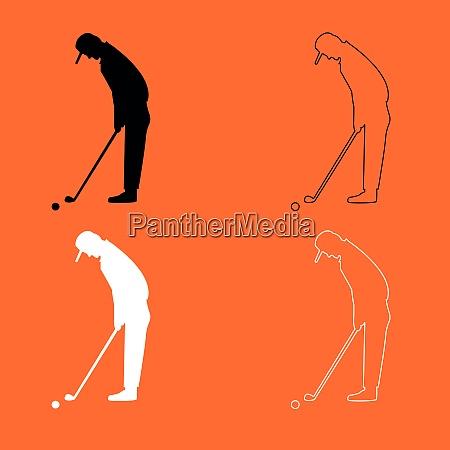 golfer black and white set