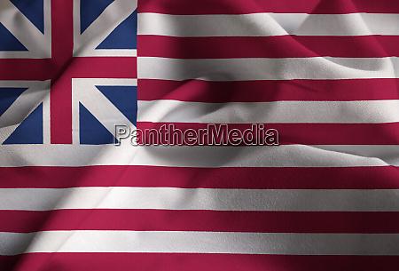 closeup of ruffled grand union flag