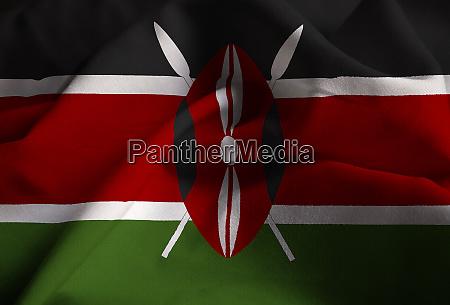 closeup of ruffled kenya flag kenya