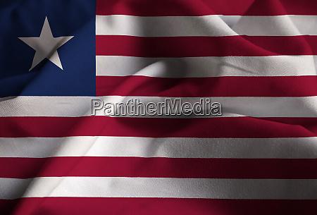 closeup of ruffled liberia flag liberia