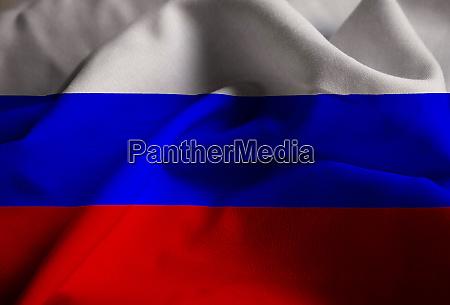 closeup of ruffled russia flag russia