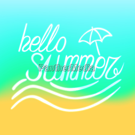 simple summer seashore background with lettering