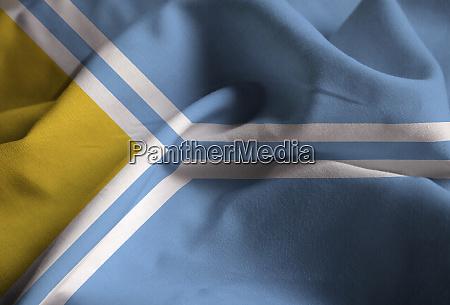 closeup of ruffled tuva flag tuva
