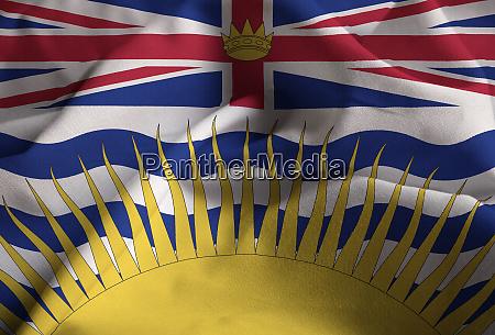 ruffled flag of british columbia blowing