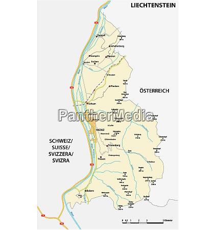 vector road map principality of liechtenstein
