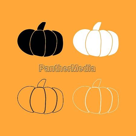 pumpkin set black and white icon