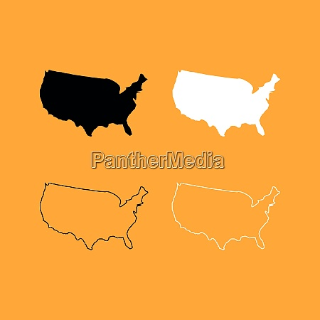 map of america set black and