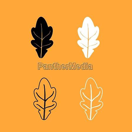 oak leaf black and white set