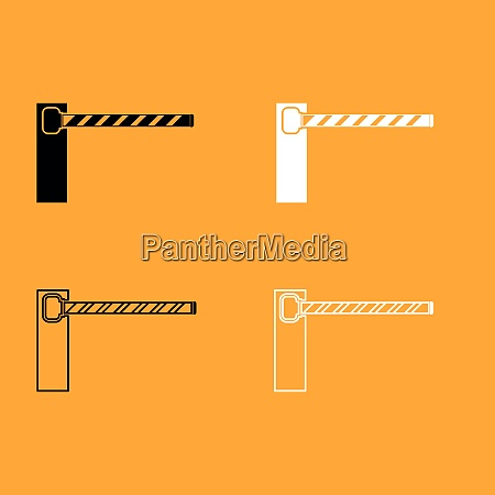 barrier black and white set icon